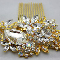 BRIDAL WEDDING CRYSTAL JEWEL DIAMANTE HAIR COMB CLIP SLIDE ***STUNNING***