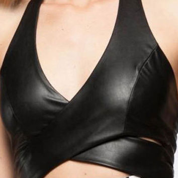 Black Plunge Halter Cross Front Leather Look Crop Top