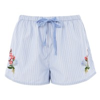 Stripe Embroidered Pyjama Shorts - Clothing