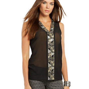 Chelsea & Theodore Metallic Bead Accented Top