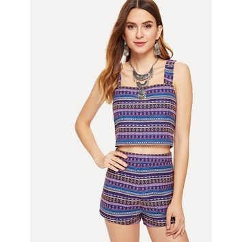 Multicolor Thick Strap Geo Jacquard Top and Shorts Co-Ord