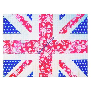 Vintage Retro Floral UK Flag Personalised Tablecloth