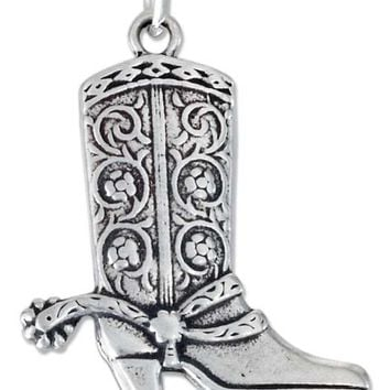Sterling Silver Antiqued Cowboy Boot Charm