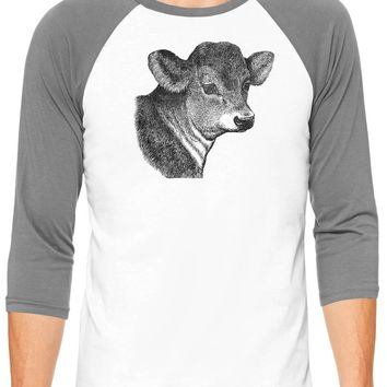 Austin Ink Apparel Baby Calf Face White Unisex 3/4 Sleeve Baseball Tee