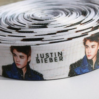 "Justin Bieber grosgrain printed ribbon 1"" or 3 flatback buttons for hair bows, scrapbooking, gift wrapping and more"