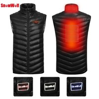 SNOWWOLF 2018 Men Outdoor USB Infrared Heating Vest Jacket Winter Electric Thermal Clothing Waistcoat For Sports Hiking