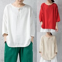 Women's Casual Cotton Blouse with 3/4 Length Sleeves and O-Neck.   In Sizes: Small to 5XL.   Colors: Red, Off-White and Apricot.   ***FREE SHIPPING***