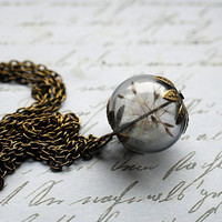 Real Dandelion Necklace Make A Wish by NaturalPrettyThings