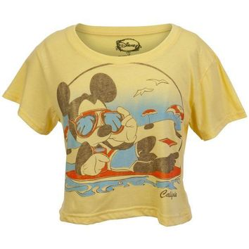 PEAPGQ9 Mickey Mouse - California Beach Juniors Half T-Shirt