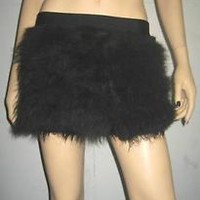 FLUFFY  BLACK FURRY SKIRT COVERS NEON  PARTY  RAVE DANCE CLUBWEAR CHRISTMAS