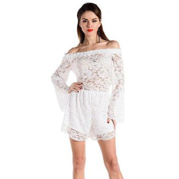 PEAPGC3 2XL Loose shorts off shoulder sexy Beach clothing Lace Playsuits 2016 summer beachwear Plus Size cover up white Bodysuits