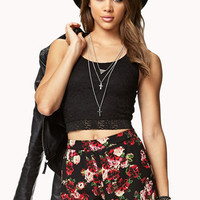 Striking High-Waisted Floral Shorts