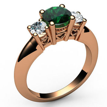 3 stone Ring Emerald Ring HeartEngagement Ring Wedding Ring Promise Ring