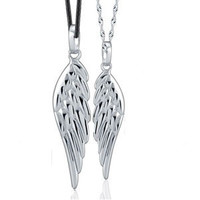 AAA 100% 925 Sterling Silver Jewelry Angel Wings for Men and Women Couple Necklace Fine Jewelry FREE SHIPPING