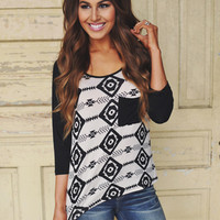 Tribal Top- Taupe/Black