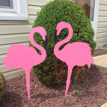 30% off Sale Spring Fling Pink flamingo set of 2 yard art, powdercoated
