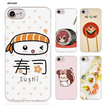 BiNFUL kawaii sushi Hard Clear Case Cover Coque for iPhone X 6 6s 7 8 Plus 5s SE 5 4s 4 5c