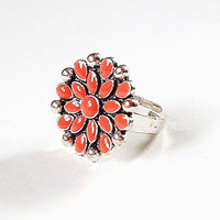 Vintage Coral Enamel Cocktail Ring Peach Orange Silver Adjustable Size 6 7 8