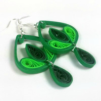 Eco Friendly Jewelry Green Earrings - green drop earrings, green teardrop earrings, paper earrings, paper quilling earrings, paper jewelry