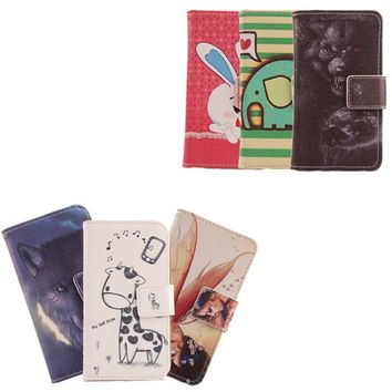 Exyuan Luxury Mobile Phone Shell PU Leather Cover Cartoon Design Flip Wallet Holster Case For Energy Sistem Phone PRO HD 5''