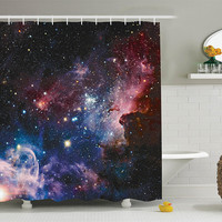 In Your Orbit Galaxy Sky Fabric Shower Curtain