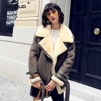 2017 Women Winter Trendy Shearling Jackets Coats Oversize Fluffy Faux Fur Jackets Coats Suede Outerwear Thicken Fur Lining Coats