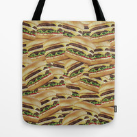 Vintage Cheeseburger Pile Print Tote Bag by RexLambo