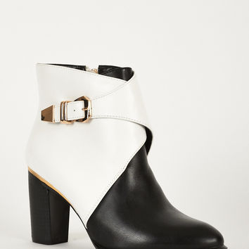 Monochrome Heeled Ankle Boots