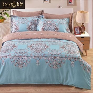 Flowers Europe Style Double Bedding Set Light Blue And Brown Bed Cover Quilt Jacquard Duvet Cover
