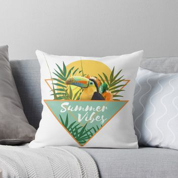 'Summer Vibes Typography Tropical Bouquet With Toucan' Throw Pillow by oursunnycdays