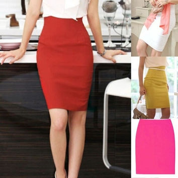 Sheath Above Knee Casual Polyester Elegant Business High Waist Pencil OL Skirt = 1946637316