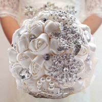 Elegant Handmade Luxurious crystal brooches pearl silk roses holding flower D336 Bride Bouquets silk Bridal Wedding Bouquets