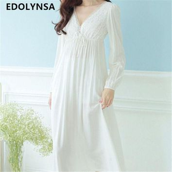 DCCKL3Z Autumn Vintage Nightgowns V-neck Ladies Dresses Princess White Sexy Sleepwear Solid Lace Home Dress Comfortable Nightdress #H13