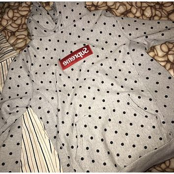 Supreme Medium Grey Comme Des Garcons Polka Dot Box Logo Hoodie
