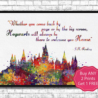 Hogwarts Castle 5 Quote Harry Potter Watercolor Art Print Archival Fine Art Print Home Decor Children's Wall Art Wall Hanging Birthday Gift