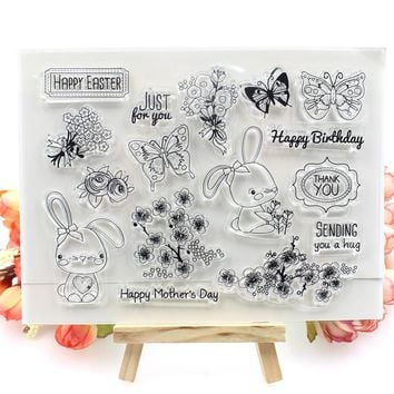 Happy Easter Transparent Clear Silicone Stamps for DIY Scrapbooking/Card Making/Kids Crafts Fun Decoration Supplies
