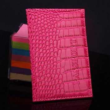 ICIKHY9 Delicate Business Card Holder Passport Cover PU Leather Alligator Embossing Passport Holder Protector Wallet