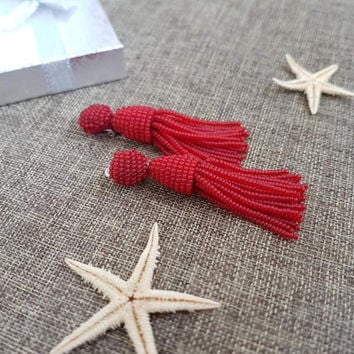 Bright Red short tassel earrings clip on ready to ship