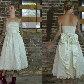 Vintage Gunne Sax Cupcake Ivory Lace Strapless Prom / Wedding Dress