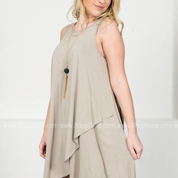 Frappe Asymmetrical Shift Dress