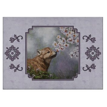 Wolf Pup and Flowers Cutting Boards