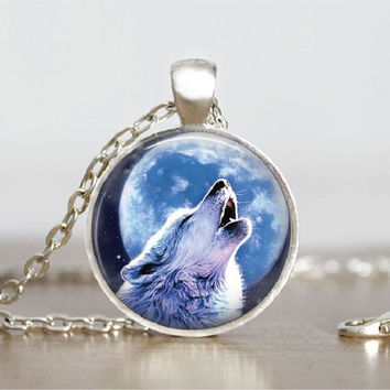 "Glass Tile Pendant Wolf Howling Neckalce Nature Gift Glass Tile Pendant Necklace 1"" Silver Round Wolf Animal Jewelry"
