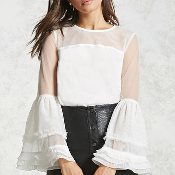 Mesh Bell-Sleeve Top