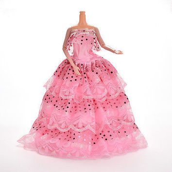 1 Pcs Pink Handmade Fashion Sequin Gown Dress For Barbie Doll Girl Birthday HU