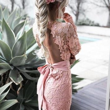DCCKL72 Hollow back package hip dress dress lace