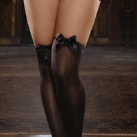 Plus Size Opaque Thigh High with Satin Bow