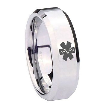 8mm Medical Alert Beveled Edges Silver Tungsten Carbide Personalized Ring