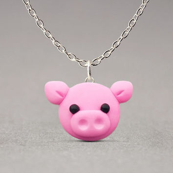Pig Pendant Necklace - Cute Jewelry, Farm Animals, Fun Gifts For Girls