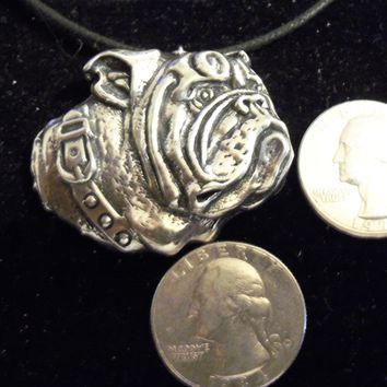 bling pewter bulldog dog animal big large canine guard fighting gothic celtic sports mascot football sign symbol pendant charm leather 30 inch cord necklace jewelry hip hop