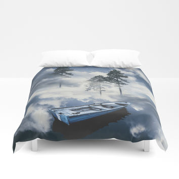 Forest sailing Duvet Cover by happymelvin